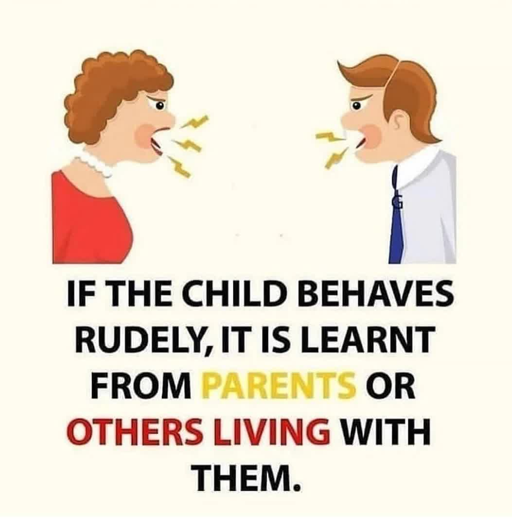 IF THE CHILD BEHAVES RUDELY, IT IS LEARNT FROM PARENTS OR OTHERS LIVING WITH THEM.